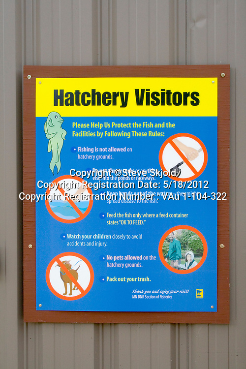 Lanesboro State Fish Hatchery for trout. Visitors hatchery rules. Lanesboro Minnesota MN USA