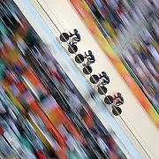 Track Cycling - Olympics: Day 8   Lauren Ellis #52, Racquel Sheath #53, Rushlee Buchanan #215 and Jamie Nielsen #217 of New Zealand  in action in the Women's Team Pursuit Bronze Medal Final during the track cycling competition at the Rio Olympic Velodrome August 12, 2016 in Rio de Janeiro, Brazil. (Photo by Tim Clayton/Corbis via Getty Images)