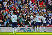 Harry Kane of England celebrates with teammates after scoring a goal (1-0) during the UEFA European 2020 Qualifier match between England and Bulgaria at Wembley Stadium, London, England on 7 September 2019.