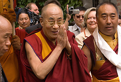 """HUY, BELGIUM - MAY-29-2006 - The Dalai Lama attends an inauguration ceremony for a new temple at the Institute Yeunten Ling in Huy, Belgium. The new temple was named Thubten Sherab Ling by the Dalai Lama, which means """"The garden of study and practice of the teachings of the Enlightened One"""".  This marks the start of the Dalai Lama's five-day visit to Belgium where he will speak in both Brussels and Antwerp. (PHOTO © JOCK FISTICK)"""