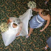 A bride makes her way to her ceremony at Shandon Baptist Church in Columbia. ©Travis Bell Photography