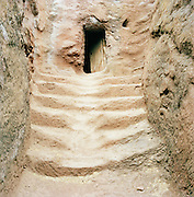 Stone steps up to an old doorway entrance to a church, Lalibela, Ethiopia