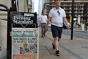 As heatwave temperatures climb to record levels - the hottest day of the year so far, the Evening Standard headline on page 1 of the London Evening Standard mentions the UKs new Prime Minister Boris Johnsons first Cabinet Meeting and his threat on a No-Deal Brexit, in the City of London the capitals financial district aka the Square Mile, on 25th July 2019, in London, England.