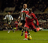 Photo: Jed Wee.<br />Newcastle United v Middlesbrough. The Barclays Premiership. 02/01/2006.<br />Middlesbrough's Jimmy Floyd Hasselbaink scores their second goal.