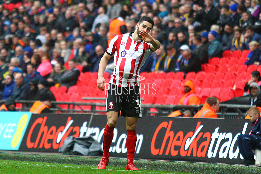 Lincoln City's Samuel Habergham during the EFL Trophy Final match between Lincoln City and Shrewsbury Town at Wembley Stadium, London, England on 8 April 2018. Picture by John Potts.