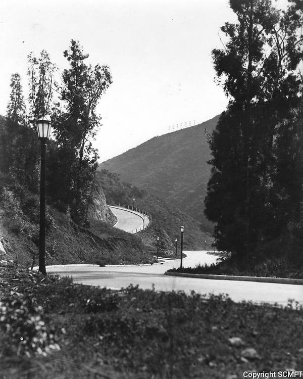 1927 Streets in the Outpost Estates. Outpost sign is on top of the mountain