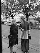 Princess Grace Requiem.1982.23.09.1982..09.23.1982.23rd September 1982.A requiem mass was held at the Pro Cathederal, Marlborough Street, Dublin ,for the repose of the soul of Her Majesty Princess Grace of Monaco..The mass was celebrated by The Papal Nuncio Most Rev.,Dr., Alabrandi. The homily was read by Monsignor John Moloney, P.P.Rathgar, Dublin. Lord Kilannin , Honorary Consol General of Monaco read a lesson at the mass. The Archbishop of Dublin Most Rev., Dr., Ryan and his auxiliary bishops were also taking part. Among the attendees were The Taoiseach, Mr Charles Haughey and his wife Maureen, former Taoisaigh Mr Jack Lynch and Mr Liam Cosgrave..The Diplomatic Corps were also represented..Ms Sile DeValera and the Archbishop of Dublin Dr.,Ryan