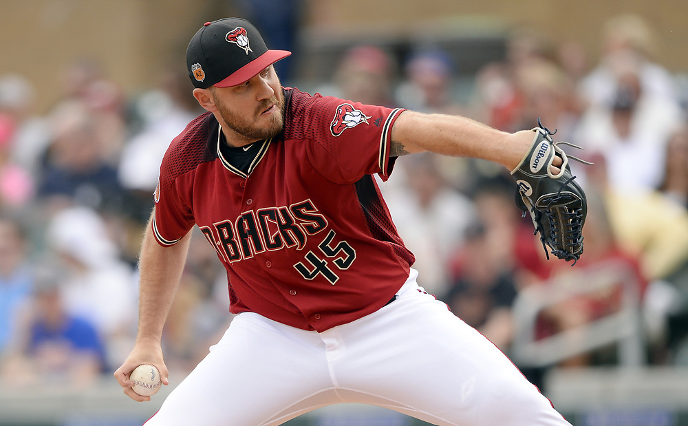 SCOTTSDALE, ARIZONA - MARCH 05:  Kevin Jepsen #45 of the Arizona Diamondbacks pitches during the spring training game against the Chicago White Sox on March 5, 2017 at Salt River Fields at Talking Stick in Scottsdale, Arizona.  (Photo by Ron Vesely)   Subject:  Kevin Jepsen