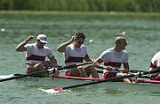 13/07/03/03 .2003 FISA Rowing World Cup - Lucerne.- Switzerland.Finals day CAN M4-.Bow Cameron Baerg, Thomas Herschmiller,.Jake Wetzel. [Mandatory Credit: Peter Spurrier:intersport Images]