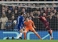 Football - 2017 / 2018 UEFA Champions League - Round of Sixteen, First Leg: Chelsea vs. Barcelona<br /> <br /> Paulinho (Barcelona) heads the ball across the Chelsea goal at Stamford Bridge.<br /> <br /> COLORSPORT/DANIEL BEARHAM