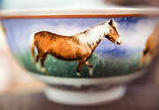 A horse on a drinking bowl.
