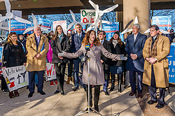 December 20, 2016 - New York, NY, United States - On December 20 in Hempstead, NY, as the first offshore wind project in New York gets approval, a huge crowd of elected officials, environmental groups, activists and concerned New Yorkers rally to support Long Island Power Authority (LIPA) and ask for offshore wind commitment in New York - Adrienne Esposito, Executive Director of Citizens Campaign for the Environment said: 'ÄúIt'Äôs been a marathon of work and effort to bring wind power to Long Island, but we are at the last mile and moving closer to the finish line' (Credit Image: © Erik Mcgregor/Pacific Press via ZUMA Wire)