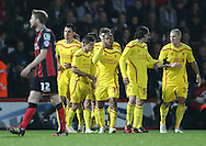 Liverpool striker Raheem Sterling scores during the Capital One Cup match between Bournemouth and Liverpool at the Goldsands Stadium, Bournemouth, England on 17 December 2014.