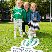 27.07.17.          <br /> Ireland Women's Rugby captain Niamh Briggs was mobbed by young fans in Limerick earlier today (Thursday) as she arrived in the city by boat for the Women's Rugby World Cup trophy tour.<br /> <br /> Showing support their support for the Ireland Women's Rugby Team, coached by their dad Tom Tierney were, Isabel, 7 and Julia Tierney, 3 with Niamh Briggs, Ireland Women's Rugby captain.<br /> <br /> <br />  The Limerick based garda and Munster fullback was escorted on the River Shannon by Limerick Marine Search and Rescue along with Nevsail kayakers as she made her way to Arthur's Quay jetty to be officially met by Mayor of Limerick, Cllr Stephen Keary. Picture: Alan Place