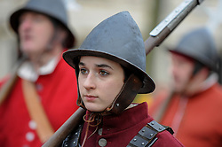 © Licensed to London News Pictures. 29/01/2017. London, UK. Members of The English Civil War Society gather to bring to life The King's Army as they retrace the route taken by King Charles I from St James Palace to the place of his execution at the Banqueting House in Whitehall. Photo credit : Stephen Chung/LNP