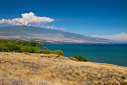 Puako Bay and Hualalai Volcanic Mountain, Kohala, Big Island, Hawaii, USA, Pacific Ocean