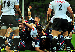The Rebels celebrate a very late try.Melbourne Rebels v The Sharks.Rugby Union - 2011 Super Rugby.AAMI Park, Melbourne VIC Australia.Friday, 11 March 2011.© Sport the library / Jeff Crow