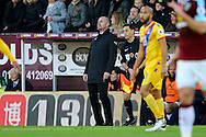 Burnley Manager Sean Dyche looks on. Premier League match, Burnley v Crystal Palace at Turf Moor in Burnley , Lancs on Saturday 5th November 2016.<br /> pic by Chris Stading, Andrew Orchard sports photography.