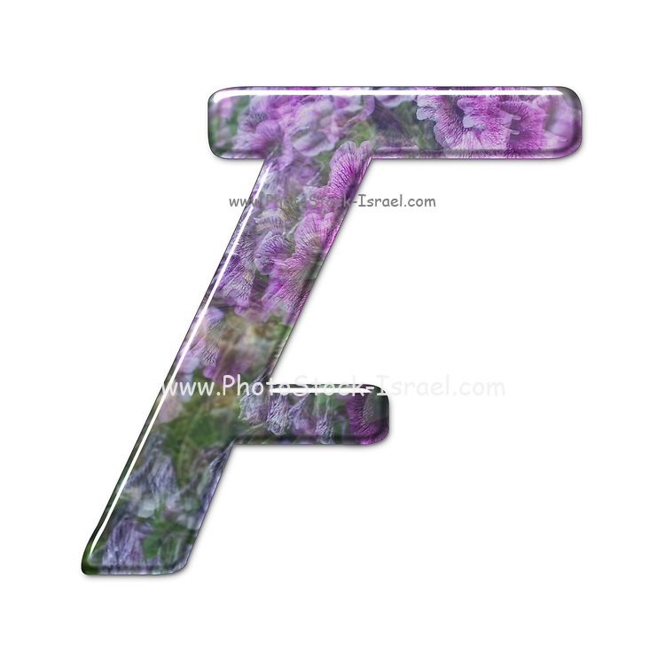 The Capitol Letter F Part of a set of letters, Numbers and symbols of 3D Alphabet made with a floral image on white background