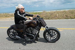Arlen Ness rides south of Flagler Beach on A1A during the Daytona Bike Week 75th Anniversary event. FL, USA. Monday March 7, 2016.  Photography ©2016 Michael Lichter.