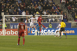 March 1, 2018 - Harrison, New Jersey, United States - Diego Reyes (9) of CD Olimpia of Honduras & Michael Murillo (62) of New York Red Bulls fights for ball during 2018 CONCACAF Champions League round of 16 game at Red Bull arena, Red Bulls won 2 - 0 (Credit Image: © Lev Radin/Pacific Press via ZUMA Wire)