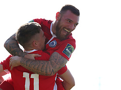 August 28, 2017 - London, United Kingdom - Jake Robinson of Billericay Town celebrates scoring his sides second goal  with Billy Bricknell of Billericay Town.during Bostik League Premier Division match between Thurrock vs Billericay Town at  Ship Lane Ground, Aveley on 28 August 2017  (Credit Image: © Kieran Galvin/NurPhoto via ZUMA Press)