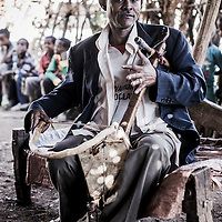 Asefa Muhabaw with a mesenko (1-string fiddle), Hawaza village, Simien Mountains, Ethiopia.