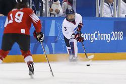 February 18, 2018 - Pyeongchang, KOREA - Korea defenseman Suyeon Eom (3) in a hockey game between Switzerland and Korea during the Pyeongchang 2018 Olympic Winter Games at Kwandong Hockey Centre. Switzerland beat Korea 2-0. (Credit Image: © David McIntyre via ZUMA Wire)