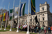 The flags of Commonwealth Nations hang in Parliament Square on the occasion of the bi-annual Commonwealth Heads of Government Meeting CHOGM,  on 19th April 2018, in London, England.