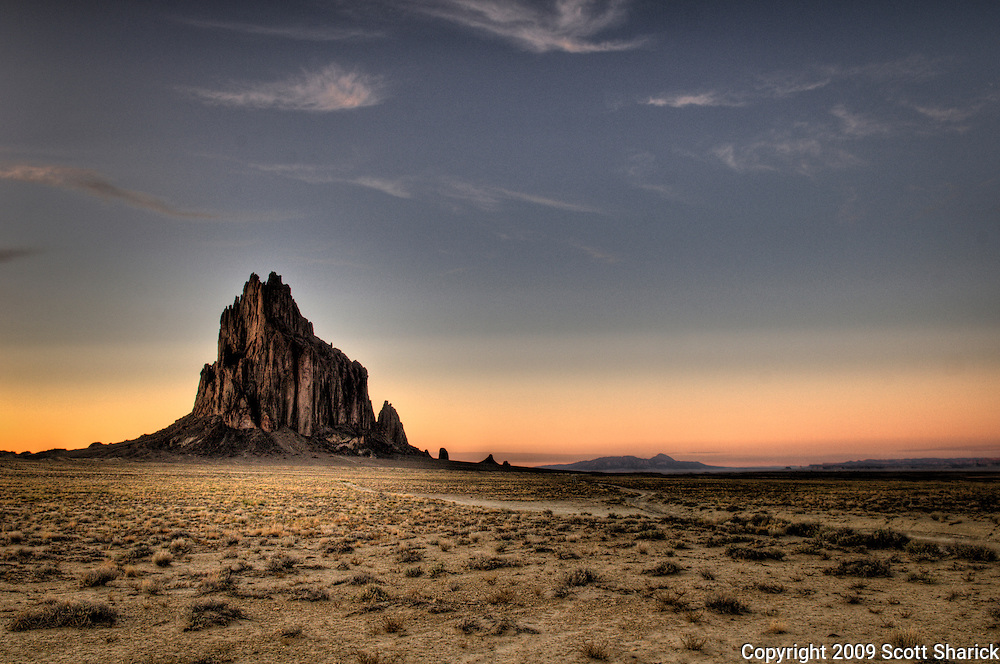 Shiprock is a massive rock formation in the Four Corners Region of the Navajo Nation in New Mexico.