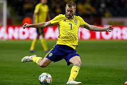 November 20, 2018 - Stockholm, Sweden - Sebastian Larsson of Sweden passes the ball during the UEFA Nations League B Group 2 match between Sweden and Russia on November 20, 2018 at Friends Arena in Stockholm, Sweden. (Credit Image: © Mike Kireev/NurPhoto via ZUMA Press)