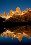 Cerro FitzRoy dawn reflection, Los Glaciares National Park, Patagonia, Argentina.