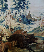 Tapestry depicting the Maximilian I Holy Roman Emperor hunting. 1660.