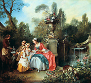The Cup of Coffee', 1742.  Nicolas Lancret (1690-1743) French painter. Mother, father and their two small girls being served coffee by a manservant beside a pool in the garden.  Fountain Water Dog Family Landscape  Tree