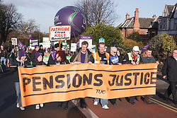 TUC members with banners at demonstration against pension cuts, Nottingham 30th November 2011