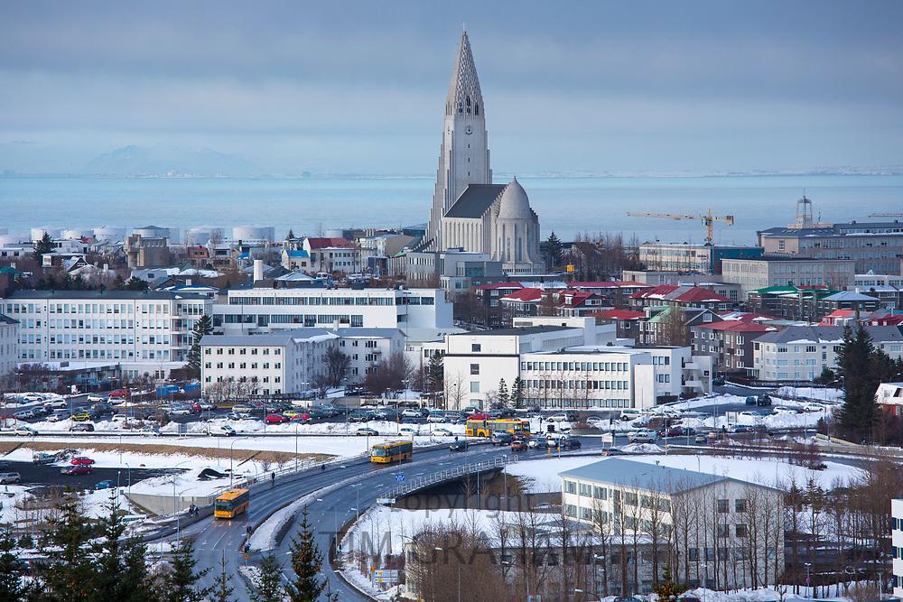 The capital city of Reykjavik and Lutheran church Hallgrímskirkja Cathedral, Iceland