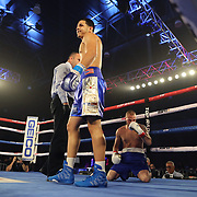 KISSIMMEE, FL - MAY 25: Edgar Berlanga knocks out Gyorgy Varju during their undercard fight at Osceola Heritage Park on May 25, 2019 in Kissimmee, Florida. (Photo by Alex Menendez/Getty Images) *** Local Caption *** Edgar Berlanga; Gyorgy Varju