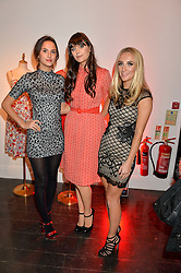 Left to right, LUCY WATSON, LILAH PARSONS and TIFFANY WATSON at the Cointreau launch for Yumi by Lilah Parsons SS/16 collection held at 15 Bateman Street, London on 1st December 2015
