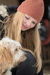 Teenage girl with her dog, Bavaria, Germany