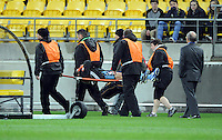 Sydney FC's Terry Antonis is stretched from the ground against Wellington Phoenix in the A-League foootball match at Westpac Stadium, Wellington, New Zealand, Saturday, October 06, 2012. Credit:SNPA / Ross Setford