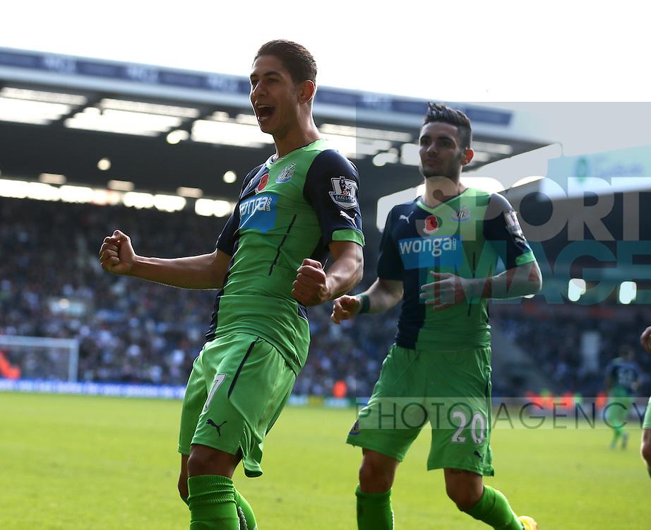 Ayoze Perez of Newcastle United celebrates scoring the first goal  - Barclays Premier League - WBA vs Newcastle Utd - Hawthorns Stadium - West Bromwich - England - 9th November 2014  - Picture Simon Bellis/Sportimage