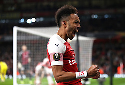 Arsenal's Pierre-Emerick Aubameyang celebrates his side's first goal of the game, which was an own goal by FC BATE Borisov's Zakhar Volkov (not pictured) during the UEFA Europa League round of 32 second leg match at the Emirates Stadium, London.