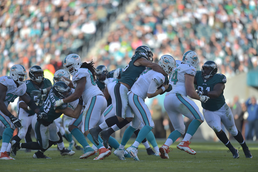 Philadelphia Eagles inside linebacker Mychal Kendricks #95 against the Miami Dolphins at Lincoln Financial Field on November 15, 2015 in Philadelphia, Pennsylvania. The Dolphins won 20-19.  (Photo by Drew Hallowell/Philadelphia Eagles)