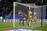 Anthony Pilkington of Cardiff city (13) picks the ball out of the back of the net as he celebrates scoring his teams 2nd goal. Skybet football league championship match, Cardiff city v Rotherham Utd at the Cardiff city stadium in Cardiff, South Wales on  Saturday 23rd January 2016.<br /> pic by  Andrew Orchard, Andrew Orchard sports photography.