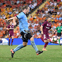 BRISBANE, AUSTRALIA - FEBRUARY 3: Rhyan Grant of Sydney in action during the round 18 Hyundai A-League match between the Brisbane Roar and Sydney FC at Suncorp Stadium on February 3, 2017 in Brisbane, Australia. (Photo by Patrick Kearney/Brisbane Roar)