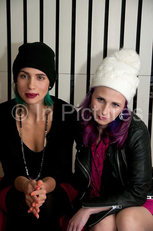 Russian activists, members of Pussy Riot, Nadezhda Tolokonnikova (Nadya) left, and Maria Alyokhina (Masha) visit Amnesty, UK.