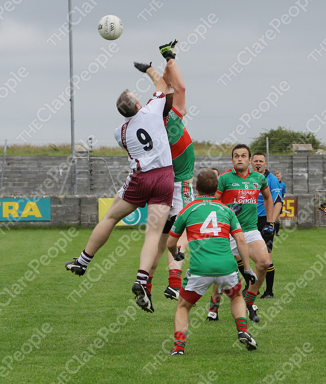 10/8/2013  Action from the Jack Daly Cup senior football championships 2013 (Round 2 Losers Group) in Miltown Malbay betweenKilmurry Ibrickane and Liscannor shows Brian Considine Liscannor competing for a high cross.<br /> Picture Liam Burke/Press 22