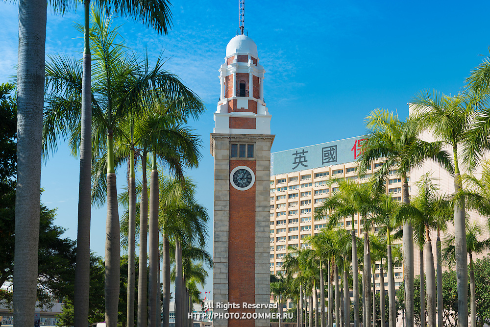 Old clock tower near the ferry pier in Hong Kong