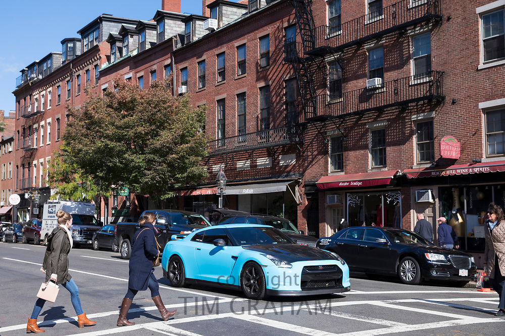 Nissan GTR automobile in Charles Street in the historic district of Boston, Massachusetts, USA