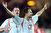◊Copyright:<br />GEPA pictures<br />◊Photographer:<br />Helmut Fohringer<br />◊Name:<br />Frankowski<br />◊Rubric:<br />Sport<br />◊Type:<br />Fussball<br />◊Event:<br />OEFB, WM Qualifikation, Laenderspiel, Oesterreich vs Polen, AUT vs POL<br />◊Site:<br />Wien, Austria<br />◊Date:<br />09/10/04<br />◊Description:<br />Tomasz Frankowski (POL), Jubel<br />◊Archive:<br />DCSFH-091004520<br />◊RegDate:<br />09.10.2004<br />◊Note:<br />8 MB - BK/WU